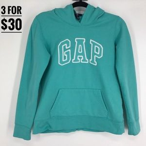 Gap logo sweater hoodie pullover small turquoise